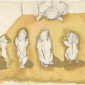 """Maria Lassnig Illustration eines Gedankens - """"Les Antagonistes"""", 1963 Albertina - Dauerleihgabe der Oesterreichischen Nationalbank © 2017 Maria Lassnig Stiftung"""