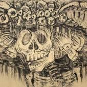Enrique Fuentes, aus der Serie: Catrina, 2013, Öl und Pigmente auf Leinwand, 200 x 340