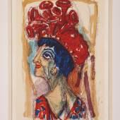 """Kat.-Nr. 1489 Dix, Otto 1891 Untermhaus/Gera - 1969 Singen. Farblithogr. """"Contessa"""". U.r. mit Bleistift sign. u. 62(19) dat. U.m. mit Bleistift bet. U.l. 38/80 num. (min. gebr.). Auf Bütten von Van Gelder Zonen mit Wasserzeichen. Gedruckt von Ehrhardt. Verlegt von Otto Dix. 62 x 37 cm. R. WVZ Karsch 291. Das Blatt wurde direkt vom Künstler erworben. Lit.: 1,2,11,14. (e6192001) Limit 3 500,-- EURO"""
