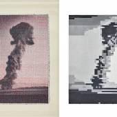 Clare Strand, The Discrete Channel with Noise: Information Source, # 11, 2020 und The Discrete Channel with Noise: Algorithmic Painting, Destination, #11, 2020 © Clare Strand, 2021, Courtesy Parrotta Contemporary Art, Köln