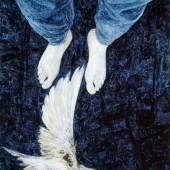 ELMAR PEINTNER_Vogel_c_Gerhard Watzek  Elmar Peintner: NÄCHTLICH FLIEGENDER UND VOGEL, 2002, Bleistift, Eitempera auf grundiertem Papier, 38 x 27 cm  Foto: Gerhard Watzek