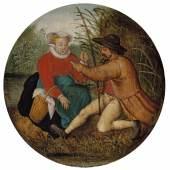 Pieter Brueghel II. (1564 - 1637/38) Das Paar beim Angeln, Öl auf Holz, Durchm. 19,1 cm  Schätzwert € 180.000 - 200.000