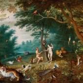 Lot Nr. 84 Jan Brueghel II.  (Antwerpen 1601 - 1678)  Das irdische Paradies mit dem Sündenfall Adam und Evas,  Öl auf Kupfer, 55,7 x 72 cm  erzielter Preis € 289.133