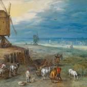 Lot Nr. 53 Jan Brueghel I.  (Brüssel 1568 - 1625 Antwerpen)  Die Rast an der Windmühle,  Öl auf Holz, 36,2 x 48,9 cm  erzielter Preis € 523.446