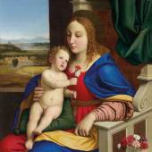 Lot Nr. 52 Giovan Battista Salvi,  gen. il Sassoferrato  (Sassoferrato 1609 - 1685 Rom)  Madonna del garofano (Madonna mit den Nelken)  Öl auf Leinwand, 109,5 x 82 cm  erzielter Preis  € 417.800