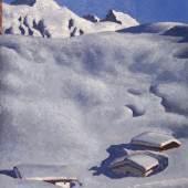 Nr. 526  Alfons Walde (1891-1958)   Almen im Schnee  Öltempera auf Karton,  57 x 46 cm