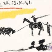 Nr. 550  Pablo Picasso (1881-1973)   Tauromachie (le moment du picador), 13.4.1961  Fettkreide auf Papier, 11 x 19 cm