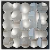 709  Adolf Luther (1912-1990)   Kinetisches Spiegelrelief, 1974  13 über 12 runden Konkavspiegeln über 16 quadratischen Spiegeln   104,5 x 104 x 17,5 cm  erzielter Preis € 118.750