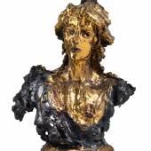"723  Lucio Fontana (1899-1968)   ""Busto di donna"", 1949,   Terakotta, bemalt, glasiert  59 x 44 x 27 cm  erzielter Preis € 588.533"