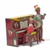 Nr. 428 Hott'an Tott right on the Spot - Dixie Blues Duett, Hersteller UNIQUE ART MFG, Blech farbig lithographiert, Uhrwerkmotor, Höhe 20 cm Rufpreis € 450