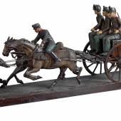 Seltenes Modell eines österr. Feldgeschützes samt Protze und Bespannung, um 1910, Rufpreis € 3.500