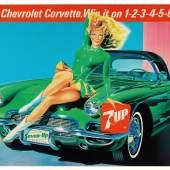 7UP-Chevrolet Corvette C1 Reklameplakat, 150 x 100 cm Österreich, 1950er Jahre Rufpreis € 300