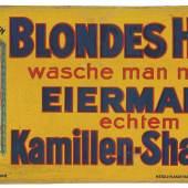 BLONDES HAAR wasche man nur mit EIERMANN's echtem KAMILLEN-SHAMPOO, geprägtes, abgewölbtes Blechschild, 50 x 24 cm Österreich, um 1910/1920 Rufpreis € 400