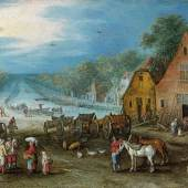 Jan Brueghel I. (1568-1625) Belebte Dorflandschaft mit Kanal, Öl/Kupfer, 17,5 x 22,5 cm   Auktion 20. Oktober 2015  Schätzwert € 300.000 - 400.000
