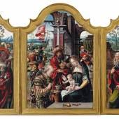 Pieter Coecke van Aelst (Aelst 1502-1550 Brüssel) Triptychon mit der Anbetung der Könige, Öl auf Holz, 105 x 72 cm (Mittelbild), je 105 x 30,5 cm (Seitenflügel) Schätzwert/Estimate € 100.000 - 150.000, Ergebnis: 588.533