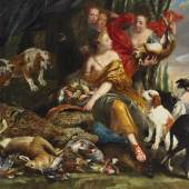 Lot Nr. 79  Jan Fyt (Antwerpen 1611–1661)  Die Göttin Diana empfängt die Jagdbeute,  signiert unten rechts: Joannes Fyt,  Öl auf Leinwand, 177 x 261 cm  erzielter Preis € 295.800