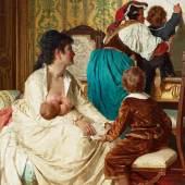 "Lot Nr. 1140 Giuseppe Sciuti (Zafferana Etnea 1834 - 1911 Rom)  ""Le gioie della buona mamma"",  Öl auf Leinwand, 185 x 119 cm  erzielter Preis € 91.250"