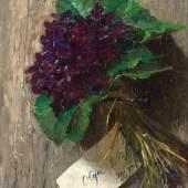 Lot Nr. 1237 Olga Wisinger-Florian  (Wien 1844 - 1926 Grafenegg)  Veilchen,  Öl auf Holz, 17 x 26,3 cm  erzielter Preis € 25.000