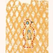 1516/7 Ernst, Max 1891 Brühl - 1976 Paris. Farbaquatintaradierung. Oiseau. 1971. U.r. mit Bleistift sign.  U.l. mit Bleistift 19/100 num. (Am Blattrand u.r. fleckig). 29 x  19,3 cm. Lit.: 1,2,14.WVZ Spies/Leppien 208 b. (e6813002)800,-- EURO