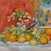Helene Bailly Gallery Pierre-Auguste Renoir Nature morte, fleurs, oranges et citrons  1888 Oil on canvas 21 1/2 x 25 3/4 in. Signed upper left : ''Renoir''