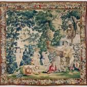 Prächtige Barocktapisserie mit Bacchanal. Flämisch. Antwerpen. Um 1670 – 1690.