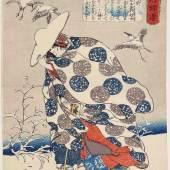 Utagawa Kuniyoshi, Die Edeldame Tokiwa aus der Serie Lebensgeschichten von weisen und tugendhaften Frauen, um 1842 © MAK/Georg Mayer