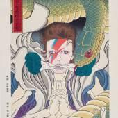 "Masumi Ishikawa, David Bowie Shapeshifting Comparison ""Kidomaru"" (Aladdin Sane) Ukiyo-e, Tokyo, 2018 Farbholzschnitt © UKIYO-E PROJECT"