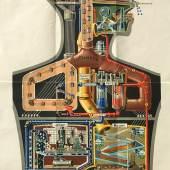 Kahn, Fritz. Der Mensch als Industriepalast. Farblithographie.1929. 1.200,- (Lührs, Hamburg)
