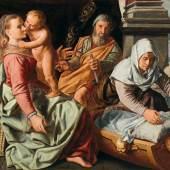 Lot Nr. 34 Huybrecht Bueckeleer (Antwerpen um 1635/40 – um 1605/25)  Die Heilige Familie mit der heiligen Anna,  datiert 1563 auf der Plinthe oben rechts,  Öl auf Holz, 110 x 141 cm  erzielter Preis € 430.742