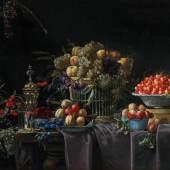 Lot Nr. 59 Francois Habert (tätig Mitte des 17. Jahrhunderts in Frankreich)  Stillleben mit Traubenkorb, einer Schale mit Kirschen und einem silbervergoldeten Akeleipokal auf einem Tisch,  Öl auf Leinwand, 92 x 119 cm  erzielter Preis € 247.000  WELTREKORDPREIS