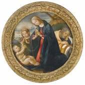 Jacopo del Sallaio (1441-1493)  Heilige Familie mit Johannesknaben,  Tempera auf Holz, Tondo,  Duchm. 68 cm  Schätzwert € 180.000-220.000  Auktion 19. April 2016