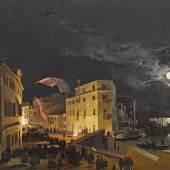 Ippolito Caffi (1809 - 1866)  Venedig, Nachtfest auf der Via Eugenia,  Öl auf Holz, 52 x 66 cm  Schätzwert € 40.000-60.000  Auktion 21. April 2016