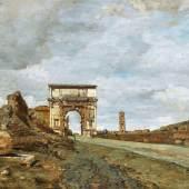 """Tina Blau (1845-1916)  Blick auf den """"Arco de Tito Vespasiano"""", 1879,  Öl auf Holz, 28 x 40,5 cm  Schätzwert € 40.000-80.000  Auktion 21. April 2016"""