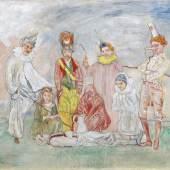 "Kat. Nr. 404 James Ensor (Ostende 1860–1949)  ""Baptême de masques"", ca. 1925–30, signiert J. Ensor, am Keilrahmen betitelt Le baptême de Masques,   Öl/Leinwand, 60 x 70 cm,  erzielter Preis € 1.022.500"