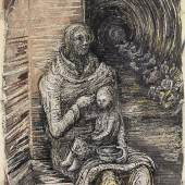 Henry Moore SHELTER DRAWING: SEATED MOTHER AND CHILD Estimate       600,000 — 800,000  GBP  LOT SOLD.	855,000 GBP