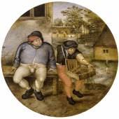 Pieter Brueghel II. (1564-1638) Ein Bauer und ein Hausierer auf einer Bank, Öl auf Holz, Durchm. 18 cm  Schätzwert € 180.000 - 220.000