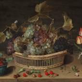 Isaac Soreau (tätig 1620-1638) Früchte- und Blumenstillleben, Öl auf Holz, 60 x 83 cm  Schätzwert € 200.000 - 300.000