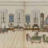 """Der """"Weiße Salon"""" aus dem Augsburger Klebealbum © Privatbesitz, Augsburg"""