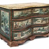 Kommode  Oberbayern, 18. Jh. Holz, blaugrundig gefasst. Auktion: 551 Zuschlag: € 4.000.–