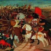Apollonio di Giovanni (1416 - 1465) Schlacht von Pharsalos, Tempera und Gold auf Holz, 40 x 157 cm Auktion 25. April 2017 Schätzwert € 400.000 - 600.000