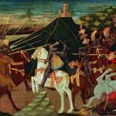 Apollonio di Giovanni (1416 - 1465) Schlacht von Pharsalos, Tempera und Gold auf Holz, 40 x 157 cm, Detail Auktion 25. April 2017 Schätzwert € 400.000 - 600.000