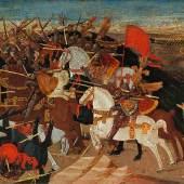 Apollonio di Giovanni (1416 - 1465) Schlacht von Pharsalos, Tempera und Gold auf Holz, 40 x 157 cm, erzielter Preis € 674.000
