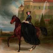 Carl Theodor von Piloty (1826 - 1886) und Franz Adam (1815 - 1886) Elisabeth von Österreich als Braut zu Pferd in Possenhofen 1853, Öl auf Leinwand, 128 x 108 cm, erzielter Preis  € 1.540.000