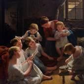 Ferdinand Georg Waldmüller, Kinder am Morgen Bilder betrachtend, 1853, Öl auf Holz, Schätzwert € 400.000 - 500.000