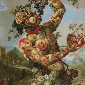Der Herbst als Obstfigur: Giovanni Paolo Castelli, Lo Spadino (1659 - ca. 1730), Allegorie des Herbstes, Öl auf Leinwand, 131 x 94 cm, Schätzwert € 80.000 - 120.000 Auktion 17. Oktober 2017
