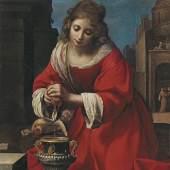 Felice Ficherelli (1603 - 1660) Die heilige Praxedis, Öl auf Leinwand, 115 x 90 cm, erzielter Preis € 350.508