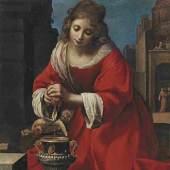 Vorbild für Jan Vermeer: Felice Ficherelli (1603 - 1660) Der heilige Praxedis, Öl auf Leinwand, 115 x 90 cm, Schätzwert € 150.000 - 200.000 Auktion 17. Oktober 2017
