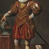 Simon Vouet (1590 - 1649) Porträt eines Gentleman mit seinem Hund, Öl auf Leinwand, 199,2 x 114,5 cm, erzielter Preis € 295.800