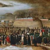 """Feiern in Flandern: Sebastian Vrancx (1573 - 1647) zugeschrieben, Karnevalsszene vor der """"Kipdorppoort"""" in Antwerpen, Öl auf Leinwand, 60 x 88 cm, Schätzwert € 100.000 - 150.000 Auktion 17. Oktober 2017"""