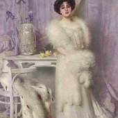 Salondame der Belle Epoche: Vittorio Matteo Corcos (1859 - 1933) Porträt von Diane de la Bouchère, 1903, Öl auf Leinwand, 225 x 148 cm, Schätzwert € 120.000 - 160.000 Auktion 19. Oktober 2017